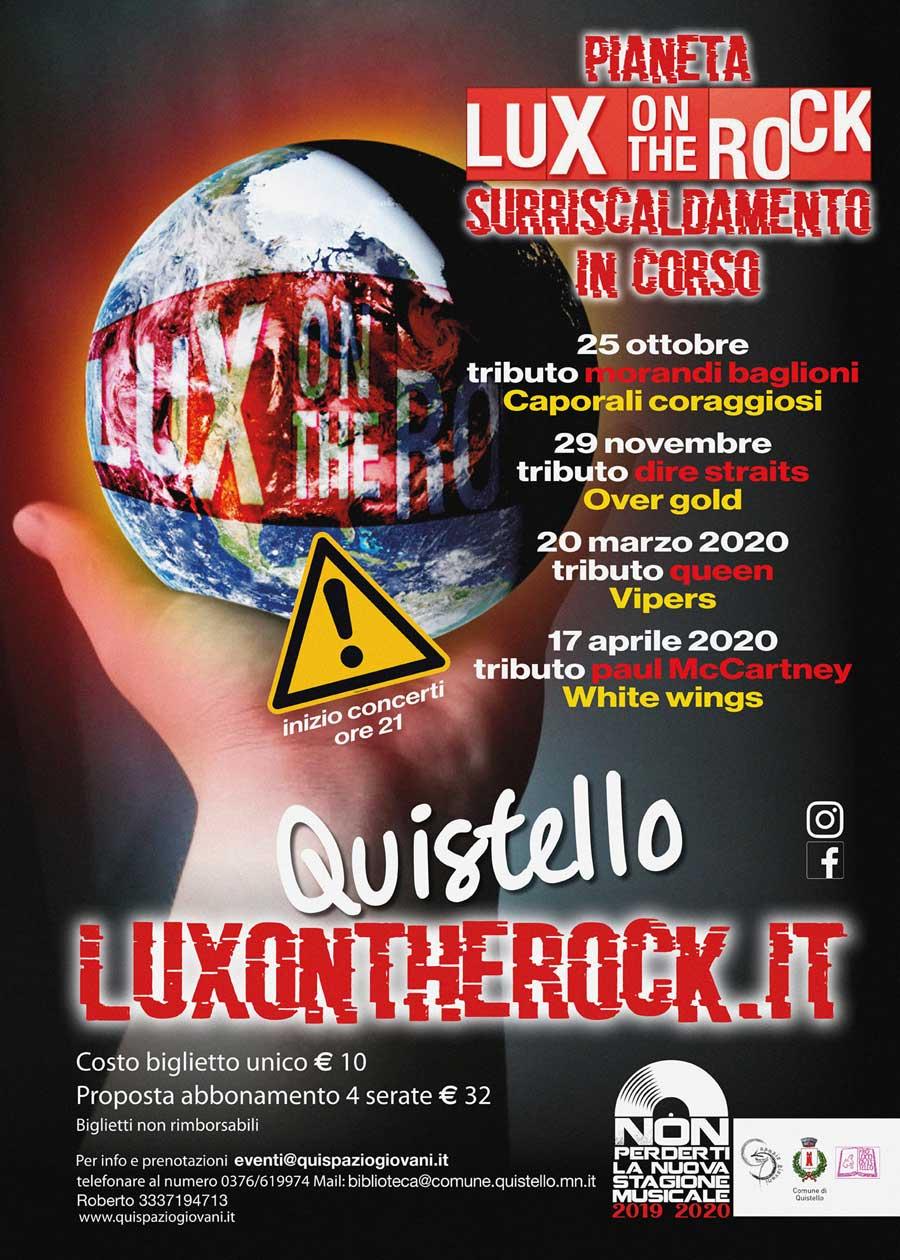 Concerti nell'edizione 2019/2020 della Rassegna musicale Lux on the Rock