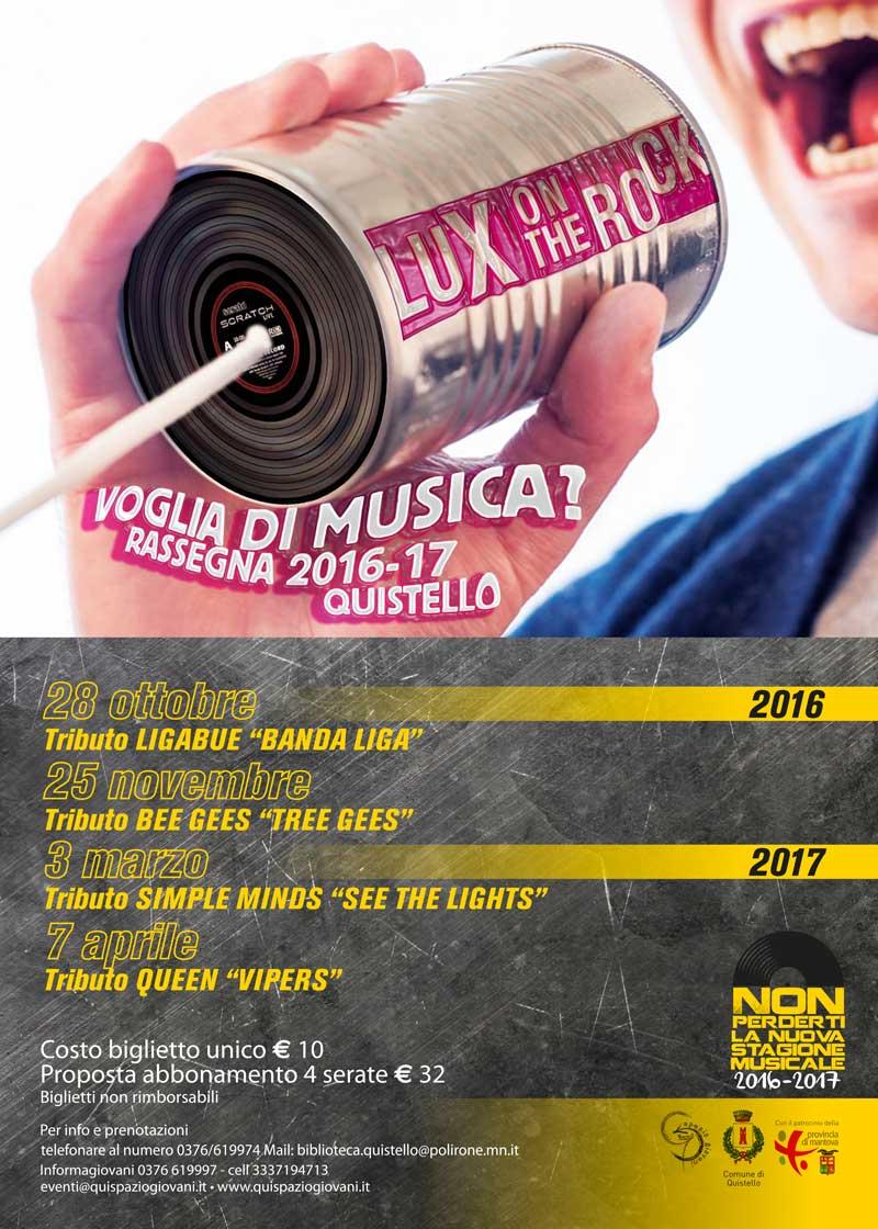 Concerti nell'edizione 2016/2017 della Rassegna musicale Lux on the Rock