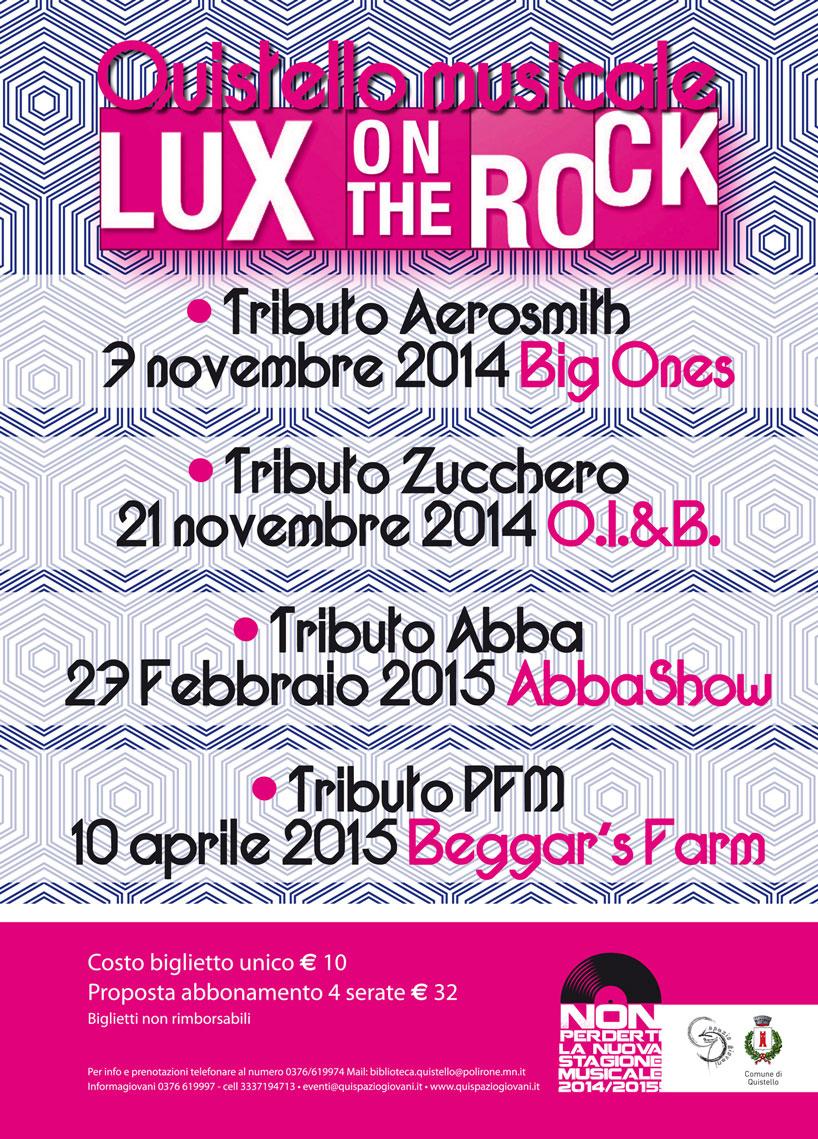 Concerti nell'edizione 2014/2015 della Rassegna musicale Lux on the Rock